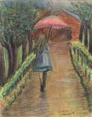 Girl with Umbrella Art Print 8 x 10