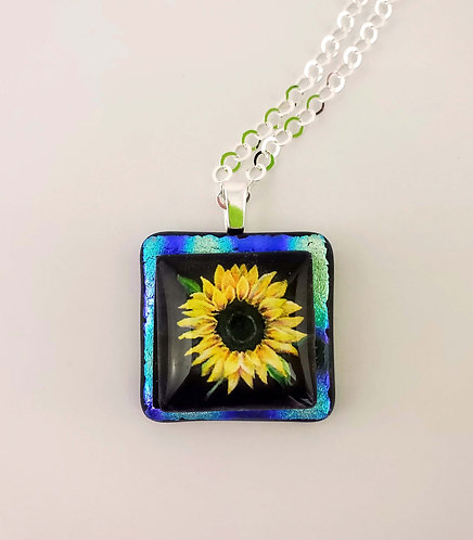Fused Glass Sunflower Necklace with Sterling Components