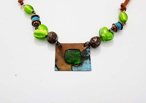 Green Glass Turquoise Copper Necklace