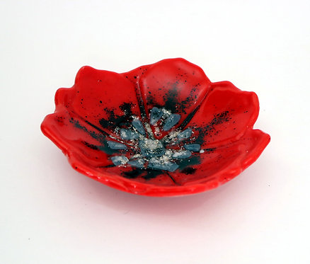 Art Glass, Flower Bowl, Poppy Dish, Red Glassware