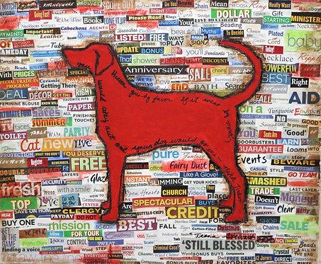 Red Dog Mixed Media Art
