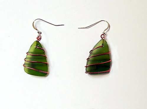 Olive Green Spiral Wire Wrap Triangle Earrings