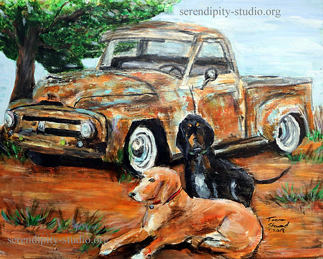 Hounds and Old Truck