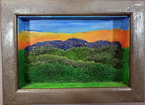 Fused Glass Mountain Landscape in Shadowbox2