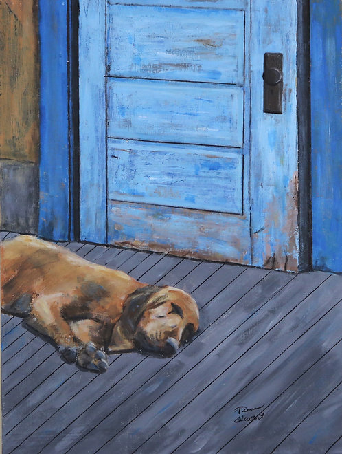 Hound on Porch Art Print 12 x 16