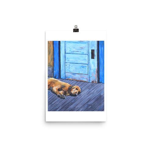 Hound on Porch Art Print