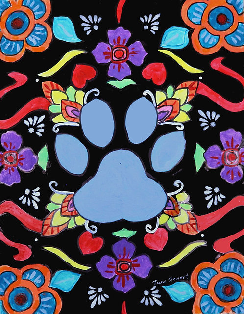 Dog Paw Mexican Folk Art Paintings