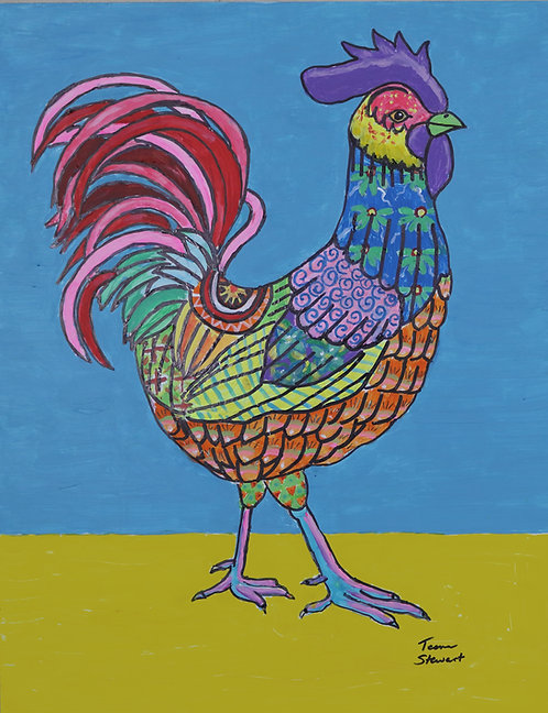Mexican Folk Art Rooster Canvas Print 8 x 10