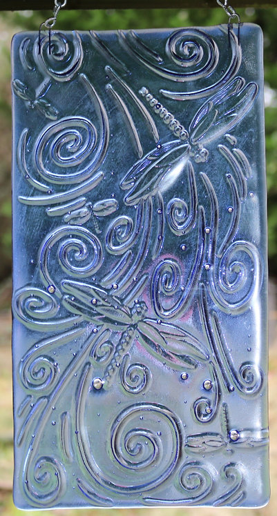 Blue Glass Dragonfly Suncatcher Window Art Panel