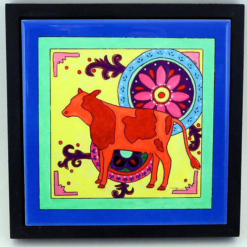 Mexican Folk Art Cow Trivet or Wall Art