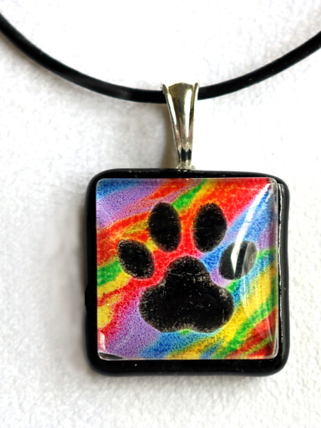 Rainbow Paw Print Necklace with Cremains