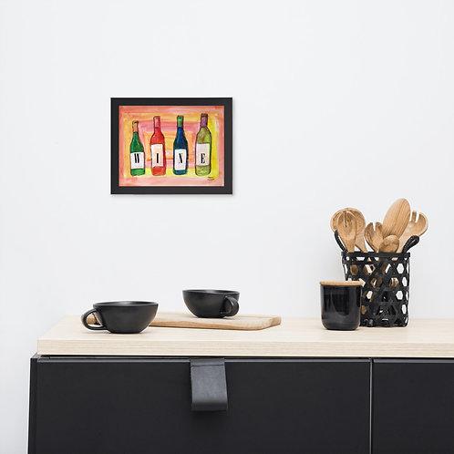 Colored Wine Bottles Wine Sign Bar Wall Decor for Home Framed