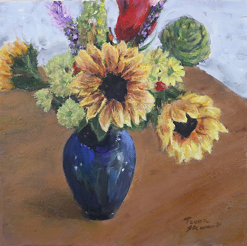 Sunflower Vase Original Acrylic Painting