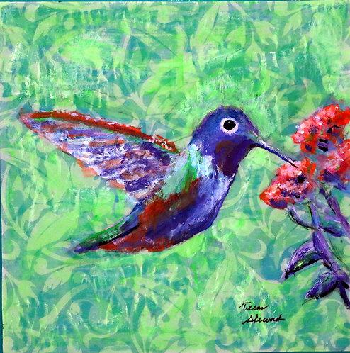 Blue Humming Bird on Green Background