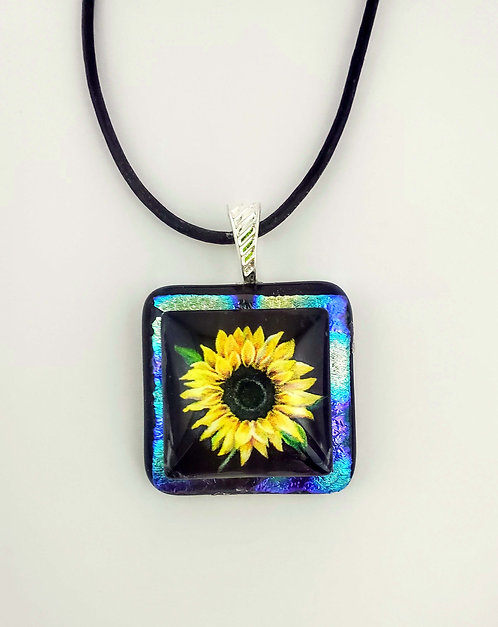 Fused Glass Sunflower Necklace with Leather Cord Test