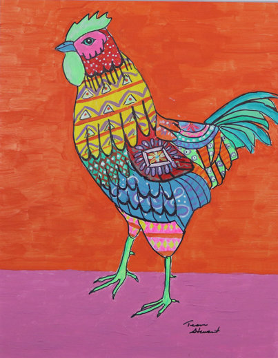 Mexican Folk Art Chicken Painting