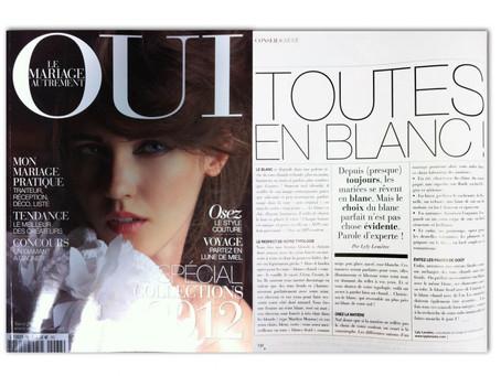 le choix du blanc pour sa robe de mariée dans oui magazine !