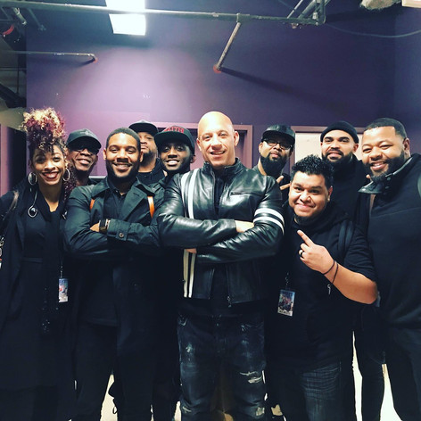 With Vin Diesel and the band