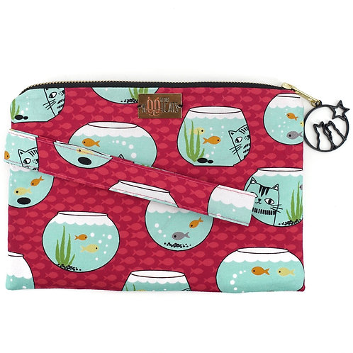 Wristlet in Cats and Fishes on Pink