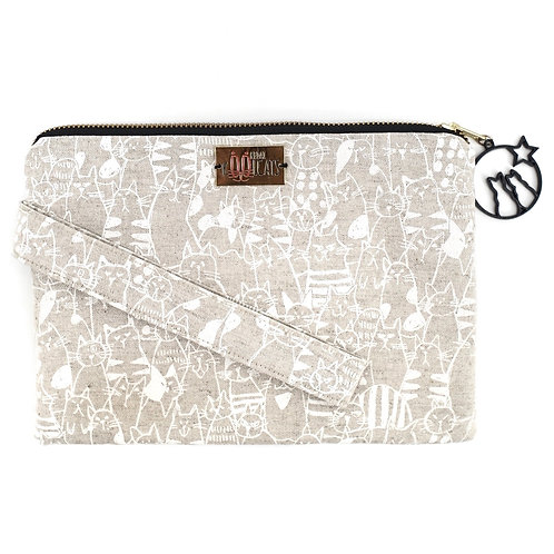 Wristlet in White Cats on Beige