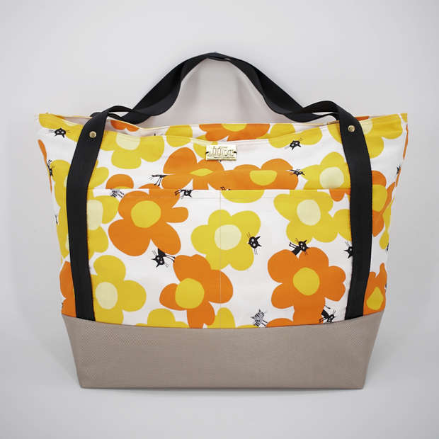 Large zippered tote in cat print cotton and waterproof nylon canvas, purrfect for use as a diaper bag
