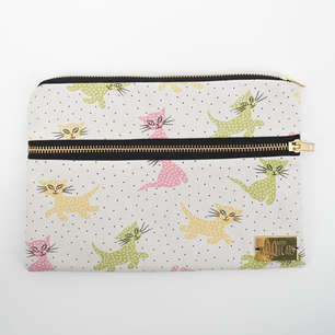 Double zippered pouch in pastel cat print cotton