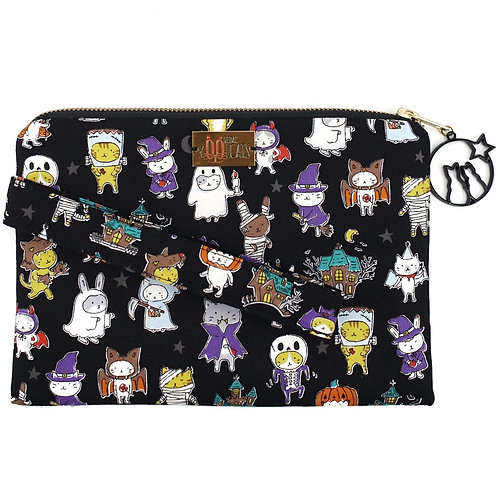 Wristlet in Costume Cats on Black