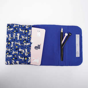 Flap pouch with slip pocket and zippered pocket, purrfect as a stationery organiser
