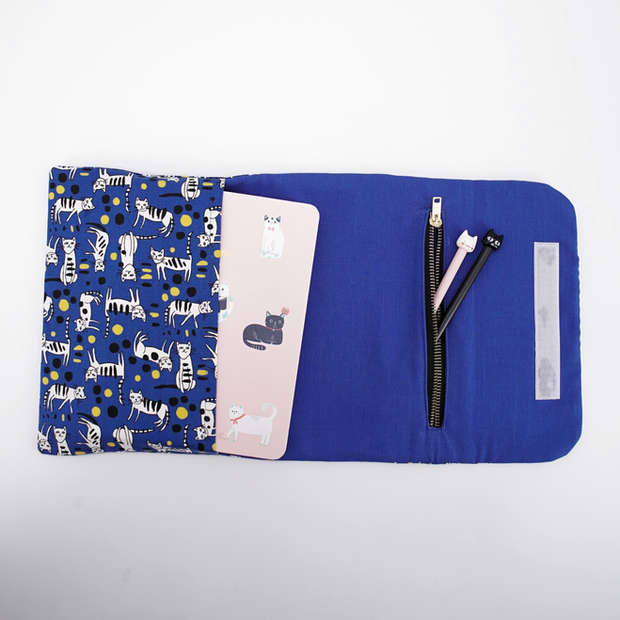 Flap pouch in cat print cotton with slip pocket and zippered pocket, purrfect as a stationery organiser
