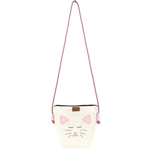 Crossbody Bag with Hand Embroidered Cat Face