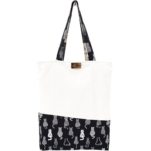 Tote Bag in Patterned-Black and White-Beige Cats with Hand Embroidered Name