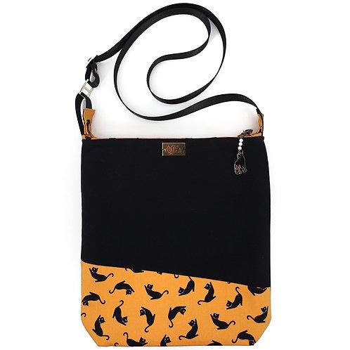 Crossbody Bag in Black Cats on Orange
