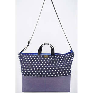 Weekender bag in cat print cotton, roomy and has three pockets; can be carried in hand, over shoulders or across body
