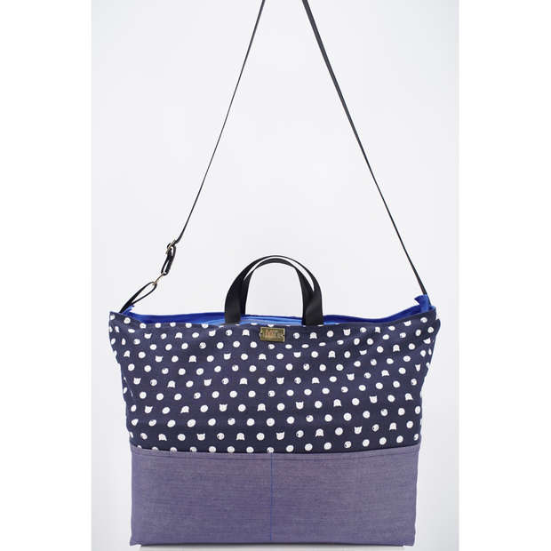 Weekender bag in cat print cotton - roomy and has three pockets, can be carried in hand, over shoulders or across body