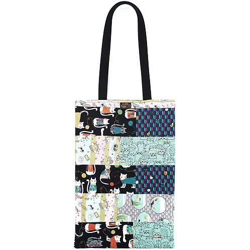 Patchwork Tote Bag in Turquoise Cats