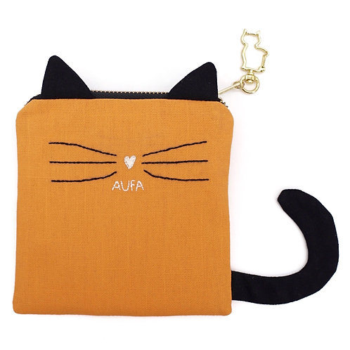 Cat Pouch in Orange/Black with Hand Embroidered Name