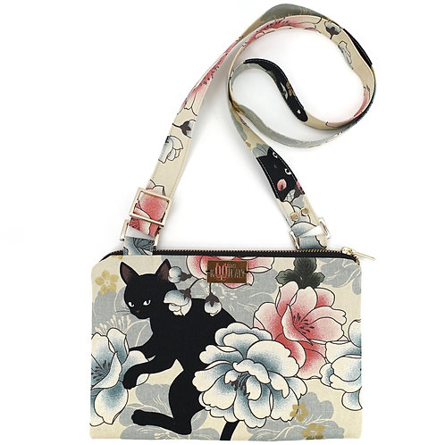 Crossbody Bag in Black Cats on Flowers