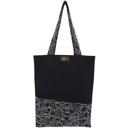 Tote Bag in Collared Cats on Black with Hand Embroidered Name