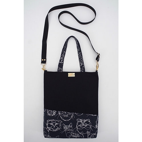 Crossbody Tote Bag in Silver Cats on Black