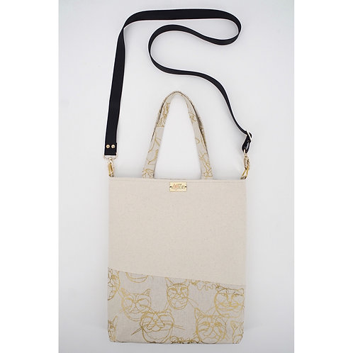 Crossbody Tote Bag in Gold Cats on Beige