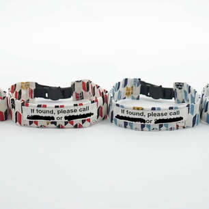 Printed contact details on the back of cat collars