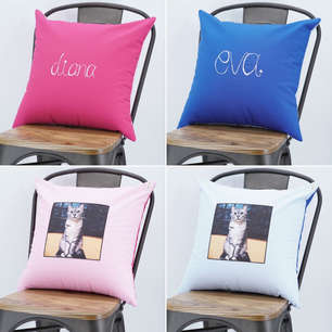 Pair of square cushions with hand embroidered name on one side, and photo of late cat on another side - suitable as cat memorial gift