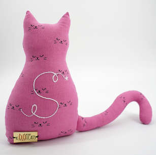 Kitten-shaped cushion in cat print cotton with large hand embroidered initial