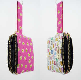 Twin zippered pouch with wrist strap, made using two cat print cotton