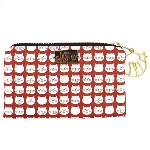 Pouch in White Cats on Red