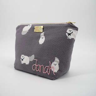 Wide-base zippered pouch in cat print cotton, personalised with hand embroidered name