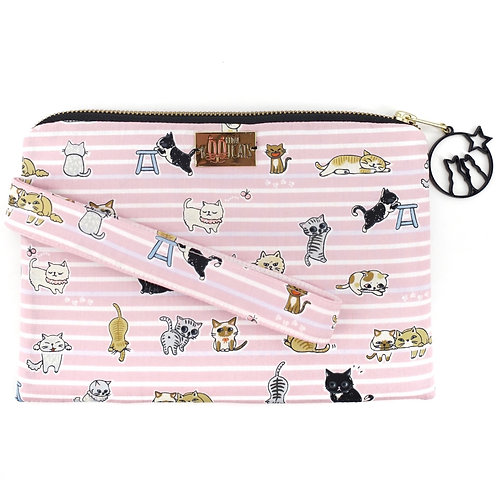 Wristlet in Cats on Pink Stripes