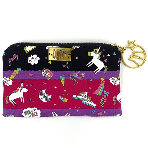 Pouch in Cats and Unicorns on Dark Stripes