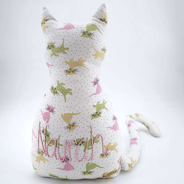Cat-shaped cushion in cat print cotton with large hand embroidered name