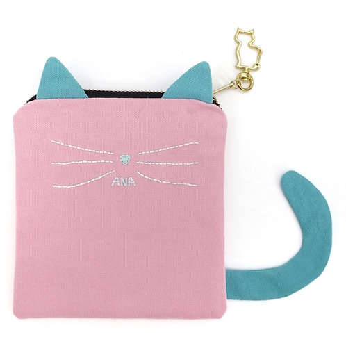 Cat Pouch in Pink/Blue with Hand Embroidered Name